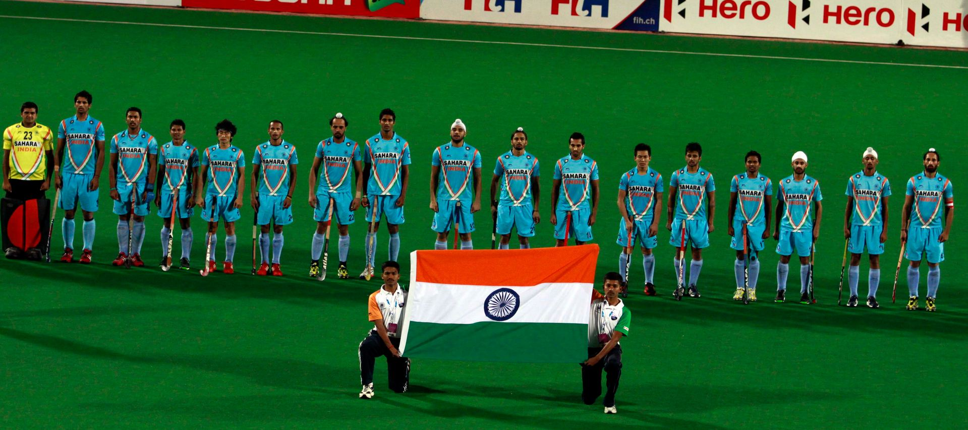 Indian Hockey Team with Indian flag