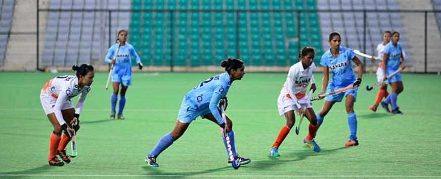 The Indian Women Hockey team practice at Major Dhyan Chand stadium